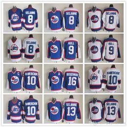 Wholesale Vintage Hockey Jerseys China - NHL Ice Hockey Winnipeg Jets Jerseys CCM Vintage Throwback Teemu Selanne Bobby Hull Dale Hawerchuk Laurie Boschman White Blue Jersey China
