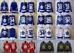 Wholesale Mens Hockey Jerseys - 29 William Nylander Jersey Mens 2017-18 New Style Toronto Maple Leafs 31 Frederik Andersen 16 Mitchell Marner 34 Auston Matthews Jerseys