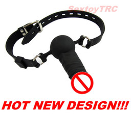 Wholesale Mouth Gag Penis - Penis Mouth Gag Dildo Ball Gags Harness New Design BDSM Fetish Sex Toy Bondage Gear Silicone Silica Gal New Design Deep Throat Play