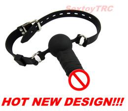 Wholesale Dildo Gags - Penis Mouth Gag Dildo Ball Gags Harness New Design BDSM Fetish Sex Toy Bondage Gear Silicone Silica Gal New Design Deep Throat Play
