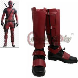 2019 botas hechas a medida Al por mayor-New Deadpool Cosplay Boots zapatos para adultos Marvel Deadpool Boots por encargo D0418 botas hechas a medida baratos