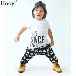Wholesale Leopard Cross Top - 2018 Spring Baby Boy Clothes Suits Short-Sleeved T-Shirt + Cross Pants Kids Tracksuits Character Face Boys Outfits Cotton Tops Trouser