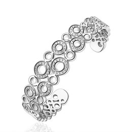 Wholesale Open Top Charms - 2016 New Top Quality Silver Plated & Stamped 925 jewelry two line O with crystone stone open cuff bracelet bangle for women