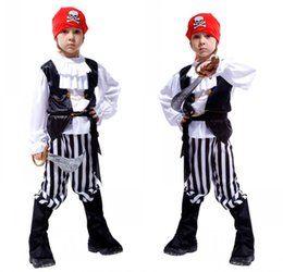 Wholesale Child Pirate Costumes - Halloween pirate Costumes kids Party Supplies Pirate Capain Jack Cosplay Boy Clothing Halloween Costume Kids Children Christmas Gifts A5680