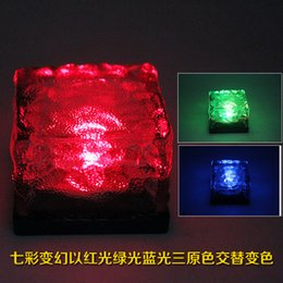 Wholesale Street Tiles - Solar ice brick lights Glass buried lights LED floor tile of light Outdoor solar lights