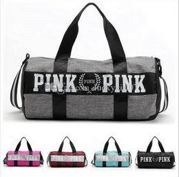 Wholesale Wholesale Large Beach Towel - Women Handbags Pink Letter Large Capacity Travel Duffle Striped Waterproof Beach Bag Shoulder Bag 30pcs Towel