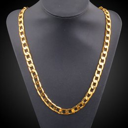 """Wholesale Chunky Yellow Jewelry - 18K Yellow Gold Plated 60cm 24"""" Long Figaro Chain Chunky Maxi Necklace for Women Men Unisex Fashion Jewelry Hot Gift"""