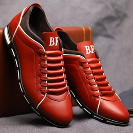 Wholesale Grooms Black Wedding Shoes - 2017 Men Dress Shoes Lace Up Leather Party Shoes Wedding Groom Leather Shoes Flat Driving Sneakers Plus Size Eu 48 US 12.5