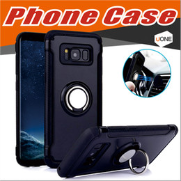 Wholesale Iron Sheets Wholesale - For Samsung S8 Iphone 8 Cellphone Case Mounter Dual Layer With Iron Sheet Magnetic Ring Car Holder Magnetic Bracket Ring Armor Phone Case
