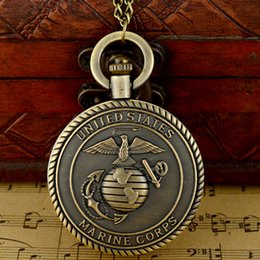 Wholesale United Forces - Wholesale-Retro Antique Bronze United States Marine Corps Force Quartz Pocket Watch Necklace Men Pendant Gift