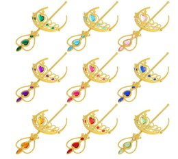 Wholesale Crown Favors Gifts - Girls Princess Gold Crown Fairy Magic Wand Sticks Set Kids Cosplay Accessories Birthday Party Gift Party Favors Hair Accessories KKA2465