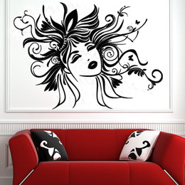 Wholesale Sexy Woman Wall Decal - Sexy Women Wall Sticker Removable Vinyl Art Design Head Of Flower Fairy Wall Decals Home Decor Living Room
