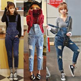 Wholesale Cowboy Bib - Wholesale- New Spring Casual Women Denim Jumpsuit Slim Vintage Loose Jeans Overalls Cowboy Female Bib Skinny Jeans Pants Women's Trousers