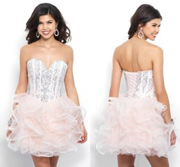 Wholesale Corset Homecoming Dresses Cheap - 2018 Ball Gown Short Blush Homecoming Prom Dress Sweetheart Organza Crystal Corset Back Beaded Graduation Party Formal Dress Gowns Cheap