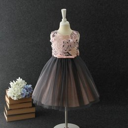 Wholesale Evening Dresses For Baby Girls - Boutique Baby Girls Dresses for Party and Wedding Formal Evening Big Bow Embroidery Tutu Birthday Dress 3-10Y E9079