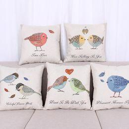 Wholesale Love Sofa Chair - 45cm Fresh Fat Bird For love Cotton Linen Fabric Throw Pillow 18inch Fashion Hotal Office Bedroom Decorate Sofa Chair Cushion