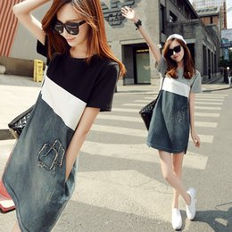 Wholesale Tight T Shirt Dresses - dresses woman new loose split plus size Pure cotton denim stitching A word skirt tight dress T shirt skirt Han edition Black white grey