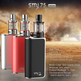topbox mini glass Promo Codes - Authentic SMY 75 mini Temperature Control box mod smy75 starter kit 75w STAR Atomizer Topbox sigelei spark snowwolf TC DHL Free TZ639