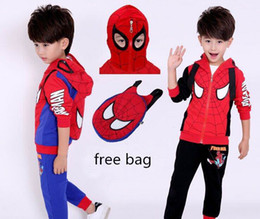Wholesale Child Clothes Spider - 2016 Autumn New Boy Casual Sets Spider man Long Sleeve Outfits free backpack Children Clothing 160810