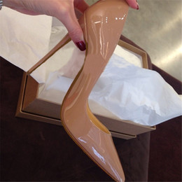 Wholesale Nude Stilettos - 2017 women sexy red bottom high heels pointed toe pumps office party shoe fashion stiletto pump patent leather 8cm 10cm 12cm No Box