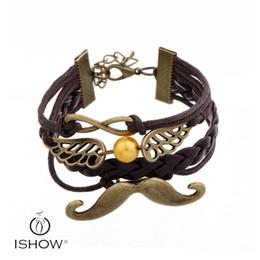 Wholesale Pearl Charm Bracelet Antique - DIY Infinity Charm Bracelets Antique gold plated Moustach style fashion Men Leather Bracelets Multilayer big glass pearl Jewelry wholesale