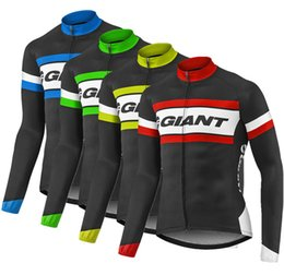 Wholesale Cycling Giant Winter - Giant Pro Team Hombres 2017 Winter Thermal Fleece Ciclismo Jersey Manga Larga Cycling Clothing Tour de France Bike Clothes Jackets Gear