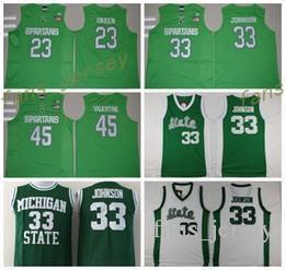 Wholesale Valentine Green - Cheap Michigan State Spartans Jerseys 2016 College Throwback 33 Magic Johnson Green White Uniform 45 Denzel Valentine 23 Draymond Green