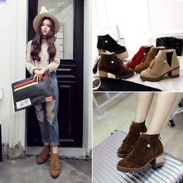 Wholesale Korean Brand Boots - South Korean star brand 2018 winter fashion warm ladies boots, high quality women's shoes, large size 34-43