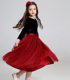 Wholesale Chinese Tutu Dress For Girls - Girls pageant dresses princess tulle tutu dress kids velvet long sleeve christmas gown for kid birthday party dress girl clothing T0561