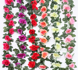 Wholesale Silk Flower Leaves Hanging - 220cm Fake Silk Roses Ivy Vine Artificial Flowers with Green Leaves For Home Wedding Decoration Hanging Garland Decor 86 INCH