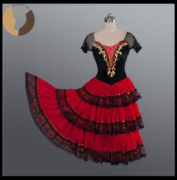 Wholesale Dance Body Wear - Girls Ballet Costumes Don Quixote Performance Skirt Red Color Velvet Bodies Stage Wear For Ballet Show Expansion Skirt AT1139