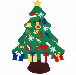 Wholesale Xmas Felt Ornaments - 2017 NEW Kids DIY Felt Christmas Tree Set with Ornaments Children Gift Toddler Door Wall Hanging Preschool Craft Xmas Decoration