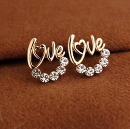 Wholesale Fancy Dates - 2017 New cute Gold Plated LOVE Heart Crystal Stud earring For Women Fancy Jewelry