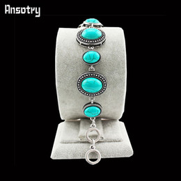 Wholesale Tibet Silver Cuff Bracelet Turquoise - Wholesale-Vintage Look Tibet Alloy Antique Silver Plated Flower Oval Turquoise Bracelet TB116