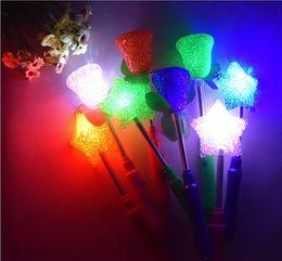 Wholesale Star Shaped Glow Sticks - Free Shipping New LED Glow Star Wand Mixed Rose Heart Shaped Stick Flashing Light Concert Party Novelty Led Toys