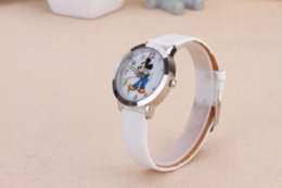 Wholesale Micky Mouse Plastic - New Arrival Micky Mouse Women's Quartz Watch Hot Fashion Student Wristwatches PU Leather Wristband Colorful Number Girl Clock