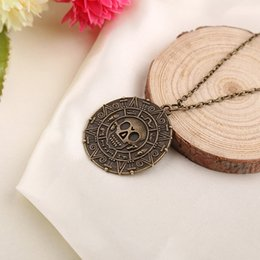 Wholesale Wholesale Pirate Caribbean Party - Pirate Necklace Caribbean American Retro Chain Necklace Pendant Pirate Coins Necklace Bronze Gold free shipping in stock