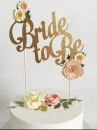 """Wholesale wedding cake bling decorations - Wholesale- """" Bride to Be"""" Bling Bling Gold Wedding Cake Topper for wedding decoration wedding favors and gifts with free shipping"""