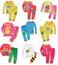 Wholesale Black Striped Long Sleeve Shirt - New Kids Pajamas Boys Girl Long Sleeve Pajamas sets T-shirt+pants 2 pieces Kids Leisure Wear Clothing 6 sets l