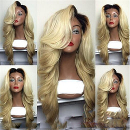Wholesale Synthetic Wigs 613 - Synthetic Wig Kylie Jenner Sexy 613 Blonde Ombre Wig With Dark Root Hair Glueless Synthetic Lace Front Wigs Heat Resistant Fiber