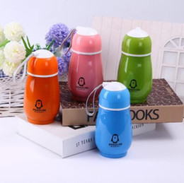 Wholesale Drinking Bottle Kids - 4 Colors 300ml Kids Penguin Tumblers Penguin Stainless Steel Water Bottle Drinking Bottles Double Wall Vacuum Insulated Cups CCA7214 100pcs