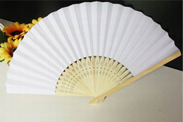 Wholesale Free Draw Cartoons - DHL Free shipping 200pcs blank white paper hand fan perfect party favor or wedding favor holiday decoration Movie props