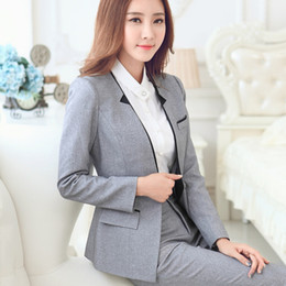 Wholesale Female Business Blazer - Wholesale-New Fashion Long-sleeve women's blazer pants set grey black business work wear formal uniform female OL office suits with