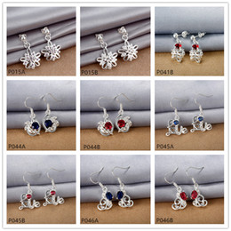 Wholesale Cheap Sterling Silver China - factory direct sale fashion women's gemstone 925 silver earring 10 pairs mixed style,cheap sterling silver Dangle Chandelier earrings GTP7