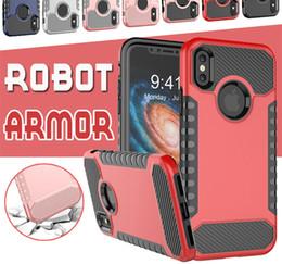 Hybrid-roboter combo telefon fall online-Hybrid-Roboter-Rüstung kombiniert weicher TPU PC zurück Fall für iPhone X 8 7 6 6S plus Telefon-Fälle Doppelschicht robuster stoßsicherer Abdeckung für Samsung-Anmerkung 8