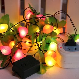 fiesta cuerdas frutas Rebajas 3M / PCS28 decoración de la fiesta de la vela de la fruta de Navidad color LED luz de la secuencia impermeable luces decorativas 220V para la fiesta de bodas st