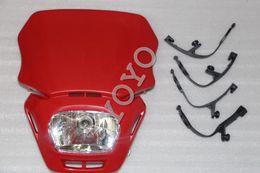 Wholesale Yamaha Yzf R1 Headlights - High Quality red Motorcycle Universal Headlight Enduro Roadd Legal For Yamaha YZF GSX ZXR CBR R1 CBF Free Shipping