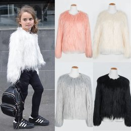 Wholesale White Faux Fur Jackets Kids - Lovely Girls Faux Fur Coat Long Sleeve O-Neck Solid Color Fur Jacket Cute Pink White Black Winter Warm Overcoats Kids Outwear CJF0915
