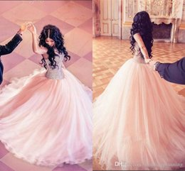 Wholesale Modest Strapless Prom - Major Beading Quinceanera Dresses 2016 Modest Sweetheart Tulle Layers Ball Gown Prom Dress Sweep Train Vestidos Girls Pageant Dress