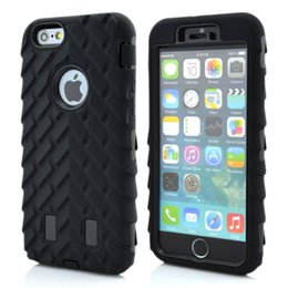 Wholesale Iphone5 Defenders - Luxury Tire Dual Layer Defender Case Soft Silicone TPU + Hard Plastic 3 in 1 Heavy Duty Armor Hybrid Cover For iPhone5 5S 6 6s 6s plus 7plus